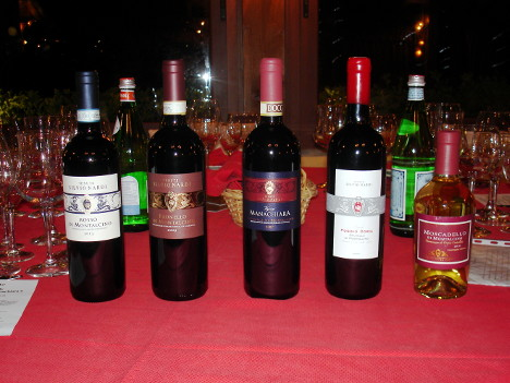 The five wines of Tenute Silvio Nardi tasted during the event