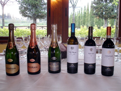The six wines of Ferrari Winery and Tenute Lunelli tasted during the event