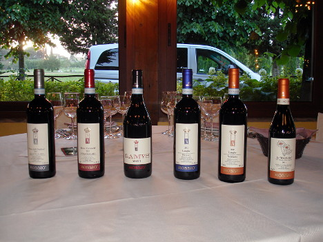 The six wines of Mossio winery tasted during the event