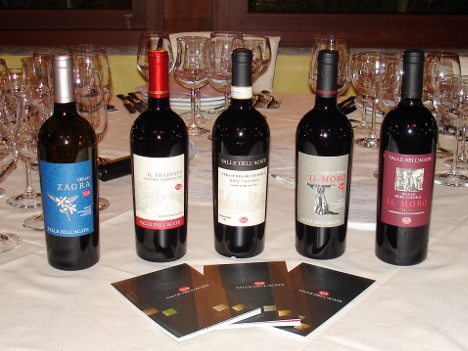 The five wines of Valle dell'Acate winery tasted during the event