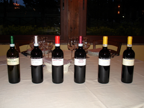 The six wines of Giovanni Manzone winery tasted during the event