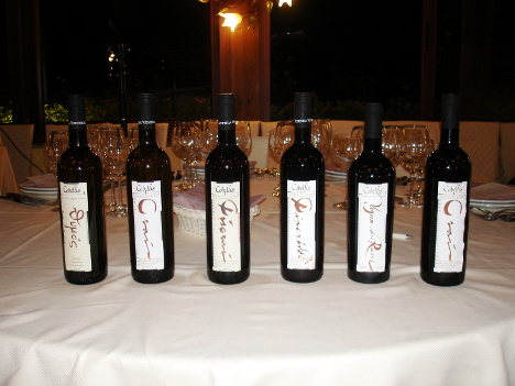The six wines of Cobellis winery tasted during the event