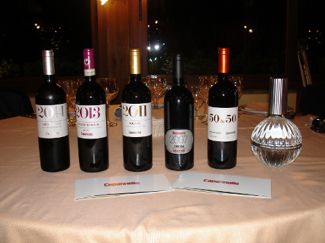 The five wines and grappa of Capannelle tasted in this event