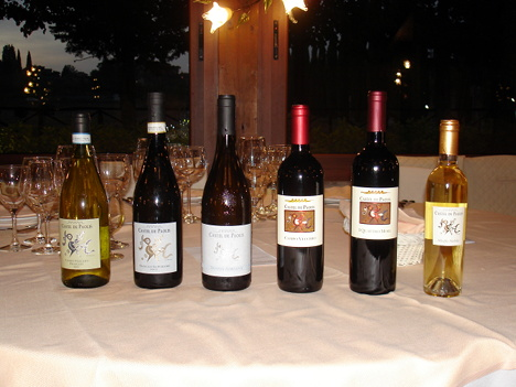 The six wines of Castel De Paolis tasted in the course of the event