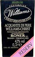 Acquavite di Pere Williams Christ Reserv Extra, Roner (Italia)