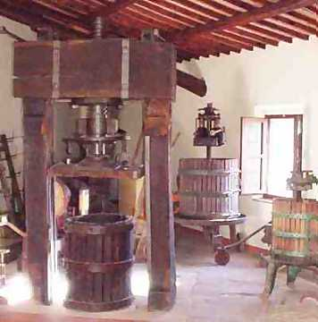 An ancient wine press of 1700, one of the many historical patrimonies of Castel Pietraio