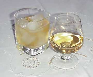 Two ways of drinking whisky: ''On the Rocks'' and plain