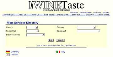 The search panel of the Wine Services Directory