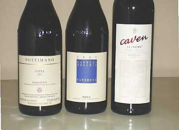 The three wines of our comparative tasting