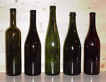 Wine bottles. From left to right: Bordelais, Burgundy, Flute, Champagne, Albeisa