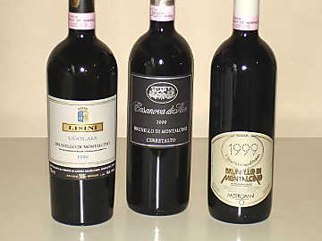 The three Brunello di Montalcino wines of our comparative tasting