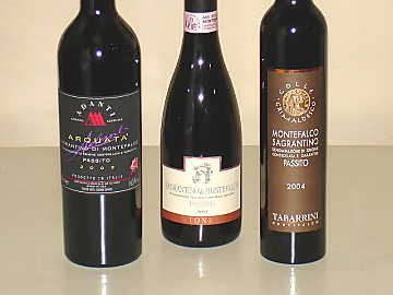 The three Sagrantino di Montefalco Passito wines of our comparative tasting