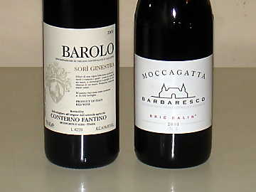 Conterno Fantino's Barolo Sorì Ginestra and Moccagatta's Barbaresco Bric Balin of our comparative tasting