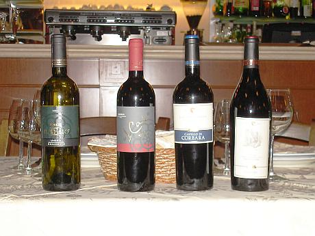 The four Castello di Corbara's wines tasted during the evening