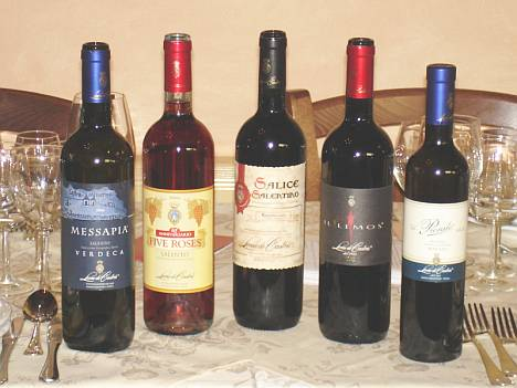 The five wines of Leone De Castris tasted during the event