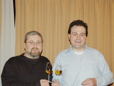 Stefano Passerini and Antonello Biancalana making a toast with Pierale to the 100,000 DiWineTaste's monthly readers