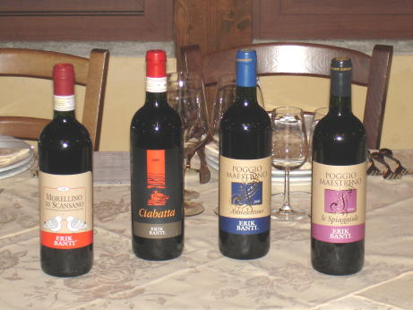 The four Erik Banti's wines tasted during the event