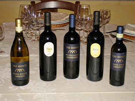 The five wines of Tre Monti tasted during the event