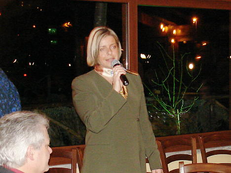 Mrs. Maria Luisa Dalla Costa during one of his speeches