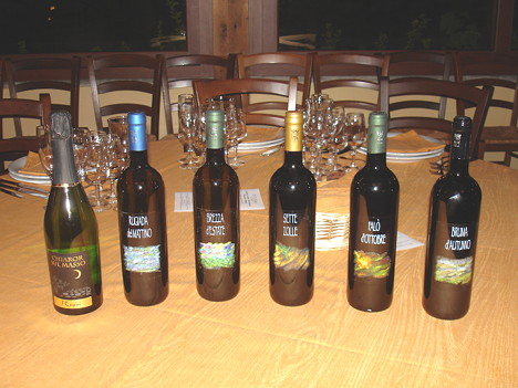 The six wines of Cascina I Carpini tasted during the event