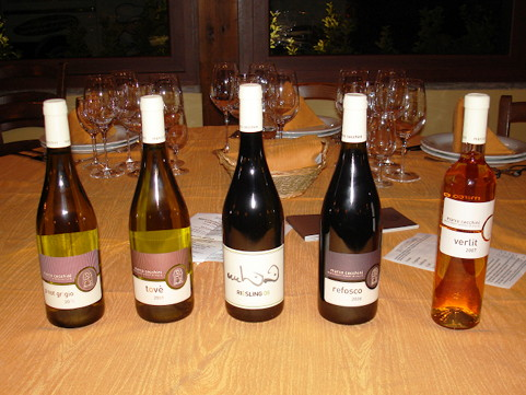 The five wines of Marco Cecchini tasted during the event