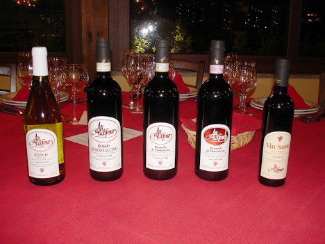 The five wines of Altesino tasted during the event