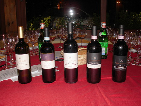 The five wines of Villa Mongalli tasted during the event