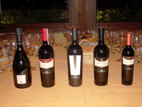 The five wines of Lungarotti winery tasted during the event