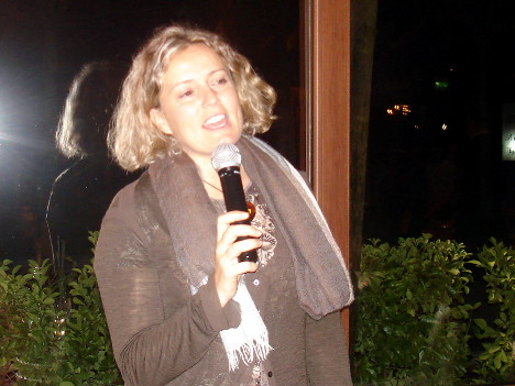 Michela Dominici during one of her speeches