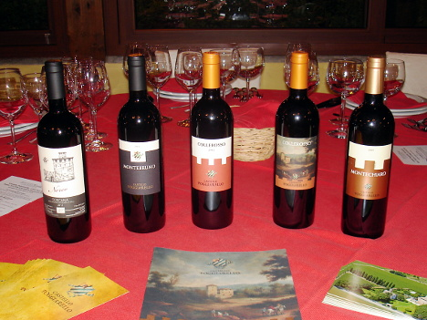 The five wines of Castello Poggiarello winery tasted during the event