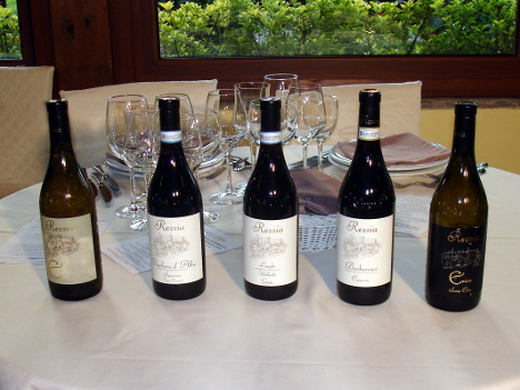 The five wines of Fabrizio Ressia winery tasted during the event