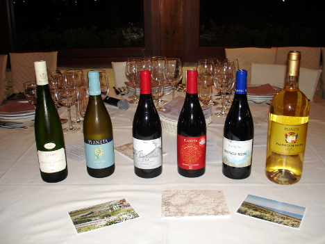 The six wines of Planeta tasted during the event