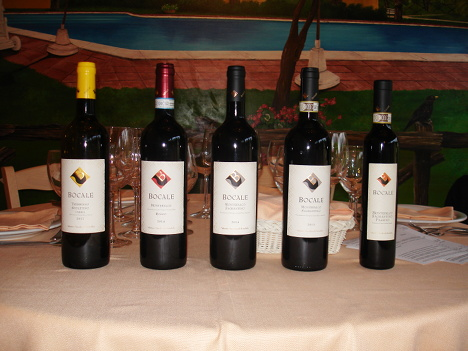 The five wines of Bocale tasted in the course of the event