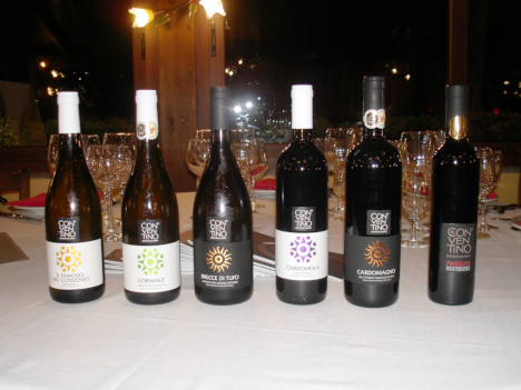 The six wines of il Conventino di Monteciccardo tasted in the course of the evening