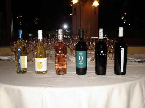 The six wines of Menhir Salento Winery tasted in the course of the evening