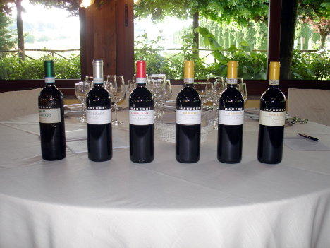 The six wines of Manzone tasted in the course of the evening
