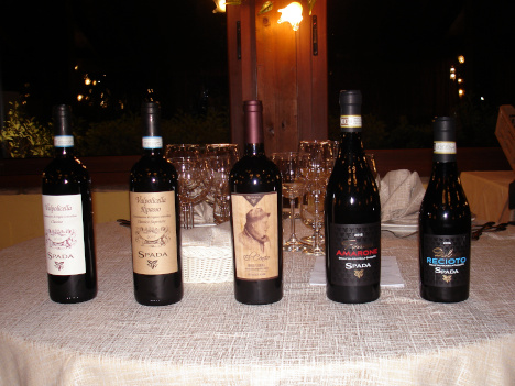 The five wines of Spada tasted in the event